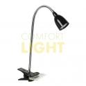 LED lampička 2,5W, černá, 3.000K, klip